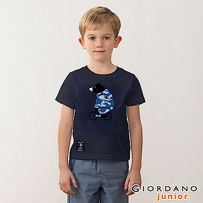 GIORDANO 童裝BOB迷彩小熊印花T恤-03 標誌海軍藍