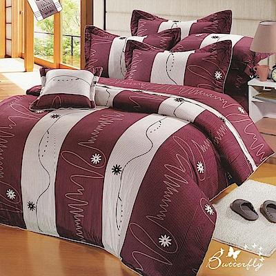 BUTTERFLY-台灣製造40支紗100%純棉-秀士棉-單人五件式床罩組-流光歲月-紅