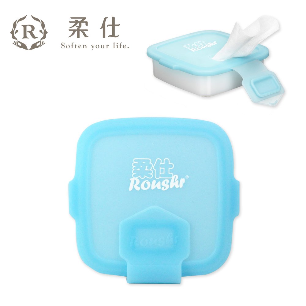 【Roaze 柔仕】專利矽膠抽取盒 + 乾濕兩用布巾(20片) - 艾莎藍 @ Y!購物