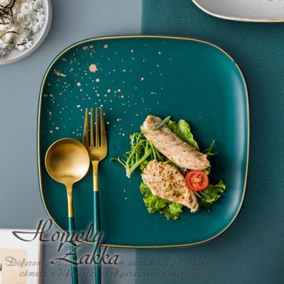 【Homely Zakka】北歐輕奢風金邊陶瓷餐具_大方形平盤(復古綠)