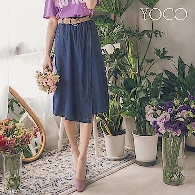東京著衣-yoco 韓系附編織腰帶牛仔單寧長裙-S.M.L(共一色)