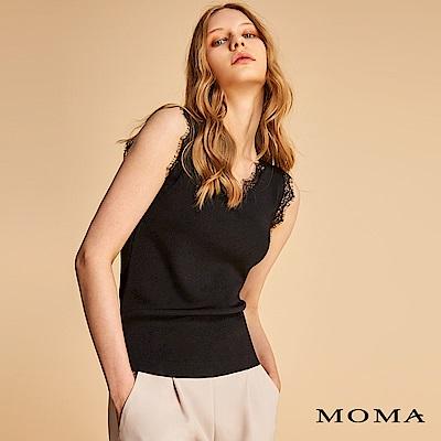 MOMA V領睫毛蕾絲針織背心