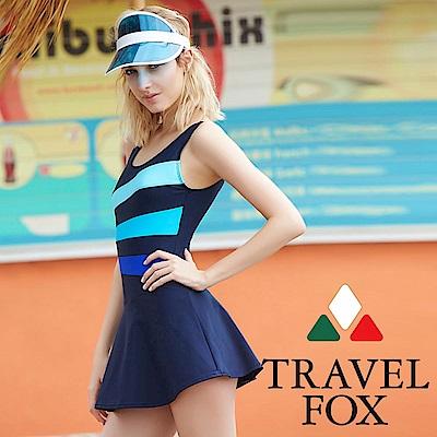 TRAVEL FOX夏之戀大女連身帶裙泳衣