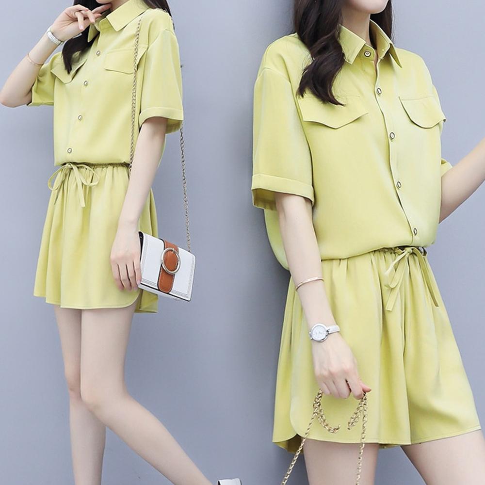 初色  氣質襯衫+舒適短褲兩件式套裝-共2色-(M-2XL可選)