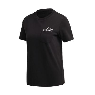 adidas T恤 Graphic Tee 運動休閒 女款 愛迪達 三葉草 塗鴉 大眼睛 圓領 穿搭 黑 粉 GK3669