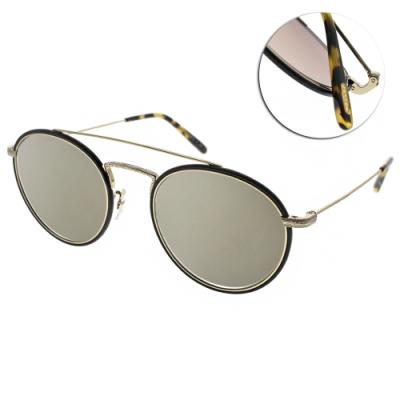 OLIVER PEOPLES太陽眼鏡  復古雕花款/黑-淺黃水銀#ELLCE 503539