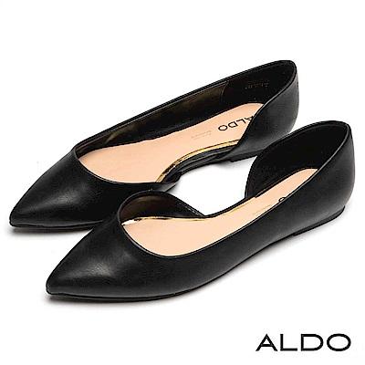 ALDO 國民黑色綴金線不對稱鞋身尖頭平底鞋~尊爵黑色