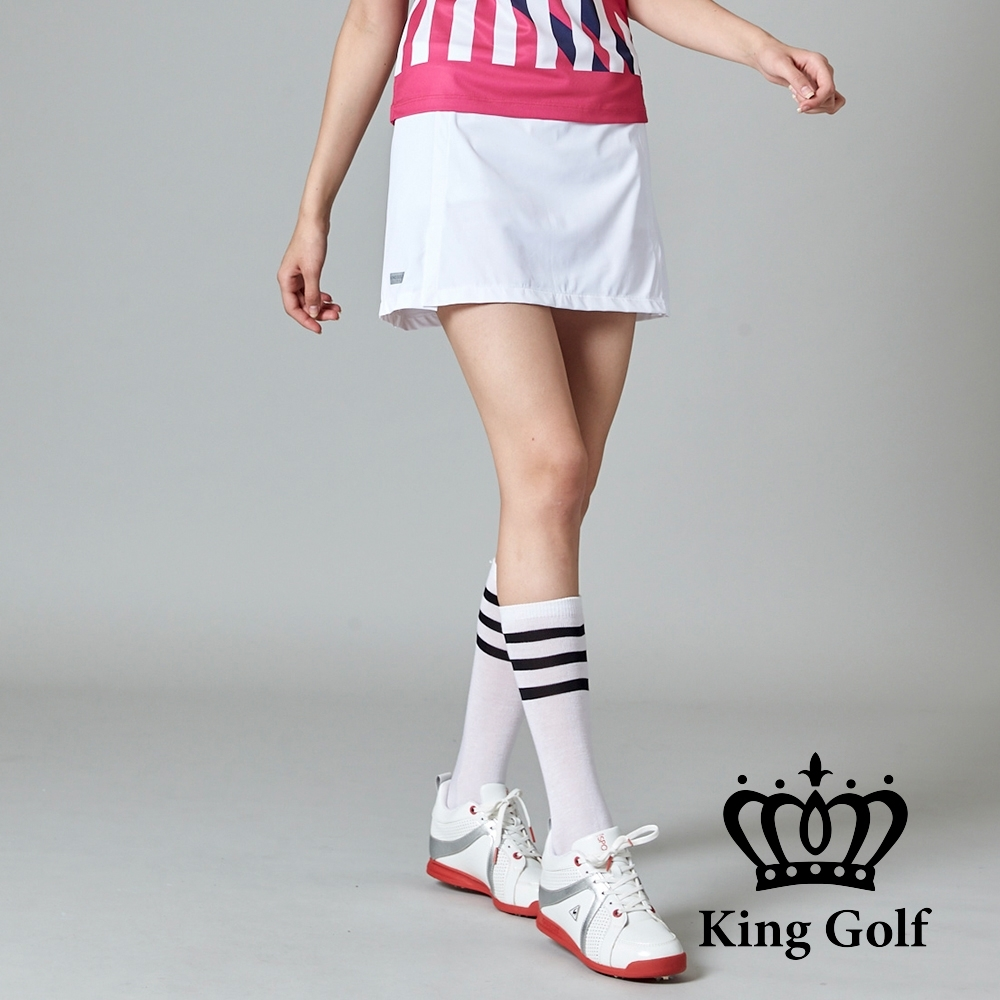 【KING GOLF】彈性修身A LINE素面短裙-白色
