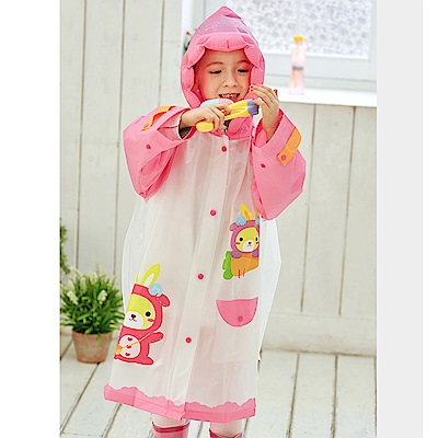 半島良品 韓國動物充氣帽兒童雨衣雨鞋-粉色兔子S