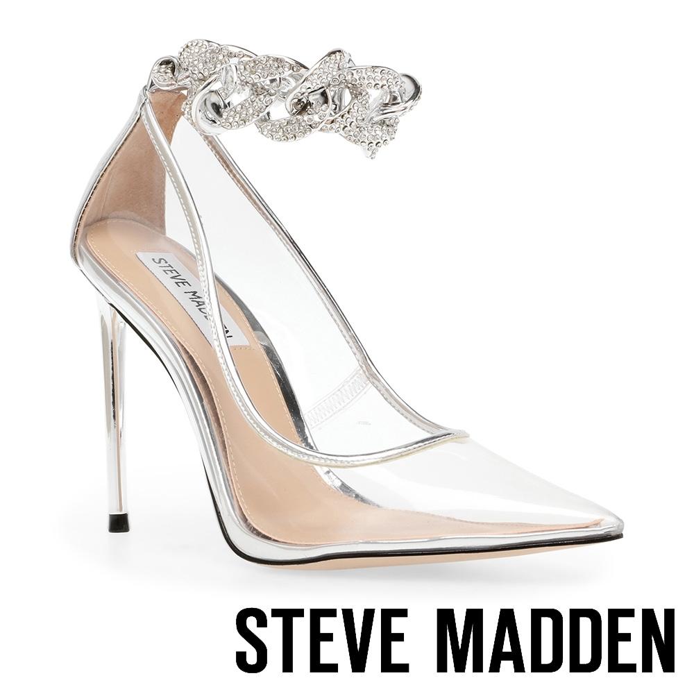 STEVE MADDEN-VIRGE 透明水鑽繞踝尖頭高跟鞋-透明銀