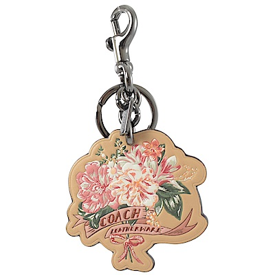 COACH 烙印LOGO花朵圖樣造型鑰匙圈