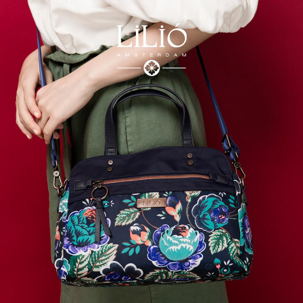 織帶托特小手提包-法國玫瑰復刻印花-紺青藍 LiliO