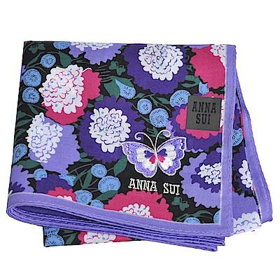 ANNA SUI 繽紛花朵優雅蝴蝶字母LOGO帕領巾(紫色系)