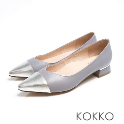 KOKKO - 尖頭V口拼接金屬鑲嵌粗跟鞋-芋頭銀色