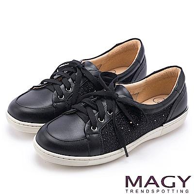 MAGY 樂活休閒 真皮星星穿孔綁帶休閒鞋-黑色
