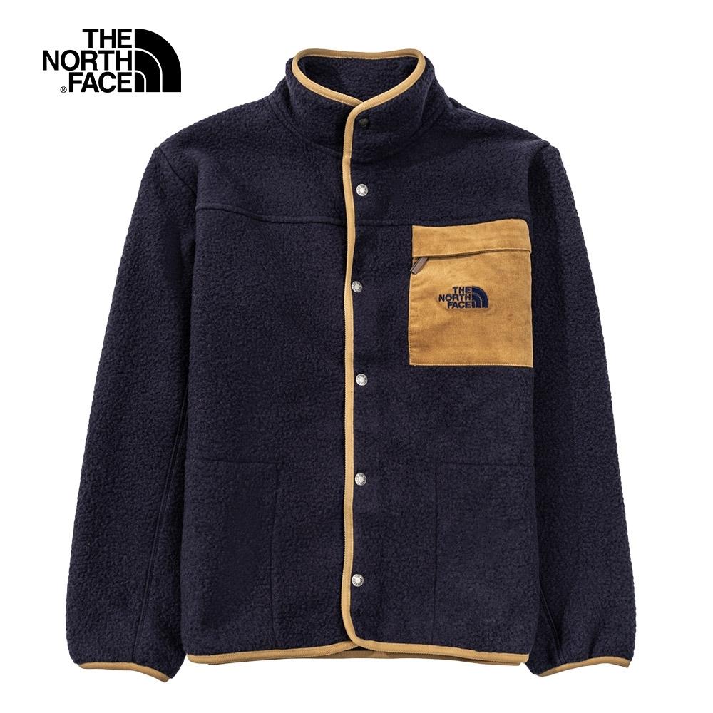 The North Face北面男女款深藍色胸前口袋抓絨外套|4NB8RG1