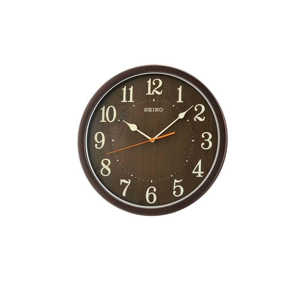 SEIKO 精工 仿木紋 滑動式秒針 靜音掛鐘(QXA718B)-咖啡/31cm