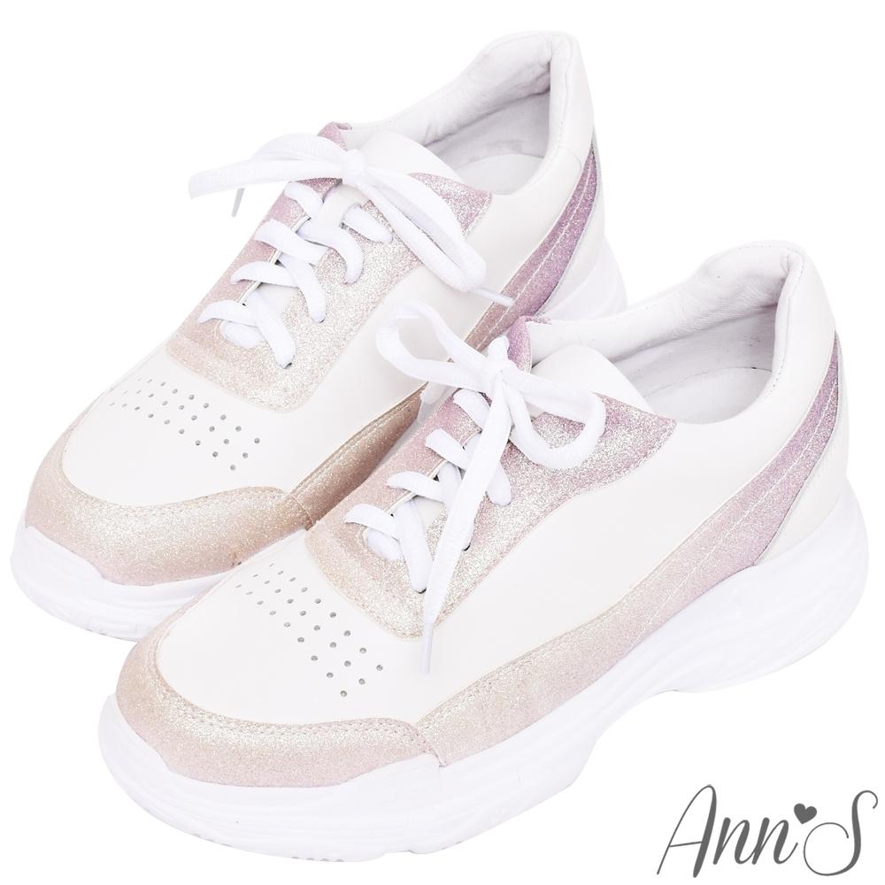 Ann'S魔術第四代漸層星沙閃耀光彩細腿真皮老爹小白鞋(版型偏小)
