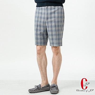 Christian 簡約悠活休閒短褲_灰藍格(CS801-1)