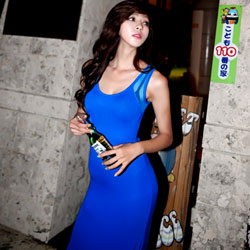 大U領透視美背紗網洋裝 (藍色)-Sexy JADE