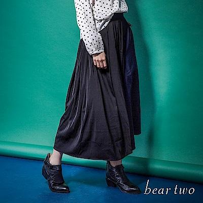 beartwo 前衛雙色異材質拼接寬鬆褲裙(藍色)
