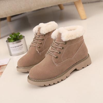 KEITH-WILL時尚鞋館-優雅蕾絲透氣保暖雪靴-卡其色