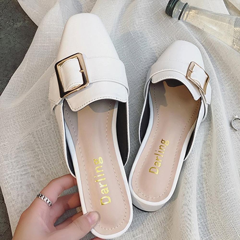 [時時樂限定]韓國KW美鞋館-清新單品歡樂金屬方扣平底包頭拖鞋(共3色可選)