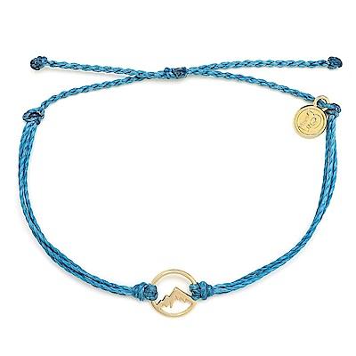 Pura Vida 美國手工 金色魅力小山 灰藍色臘線可調式手鍊衝浪防水手繩