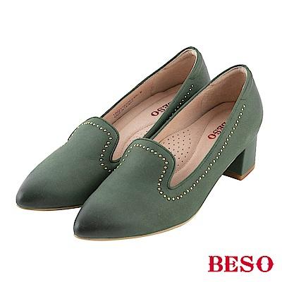 BESO 個性品味 鉚釘尖頭樂福粗跟鞋~綠