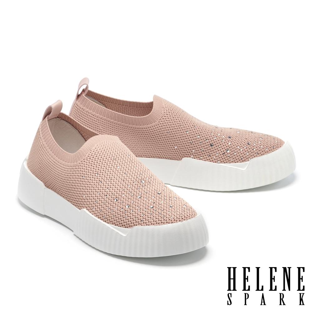 休閒鞋 HELENE SPARK 率性時尚晶鑽厚底休閒鞋-粉