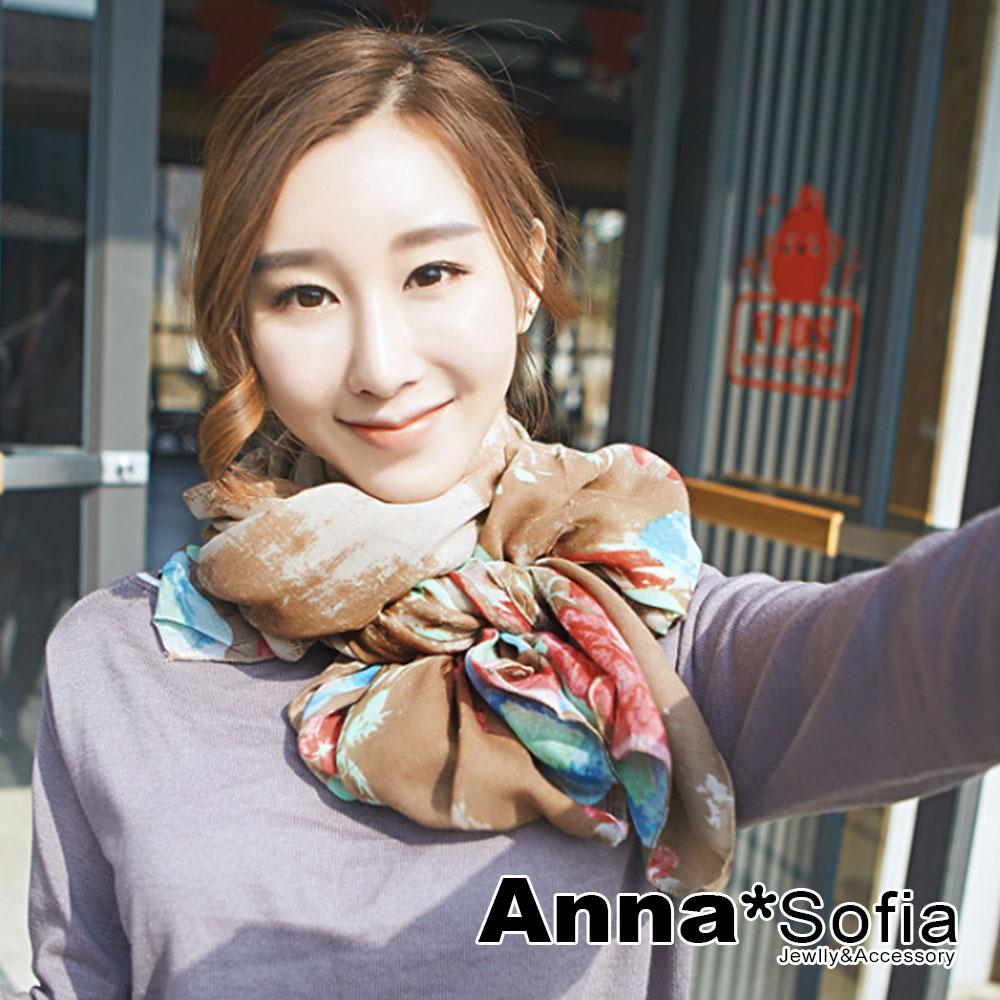 【2件450】AnnaSofia 巴黎花印彩染 拷克邊韓國棉圍巾披肩(駝咖系)