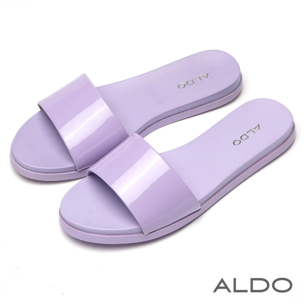 ALDO 紫丁香寬版光澤鞋面復古圓頭懶人涼拖鞋~紫丁香色