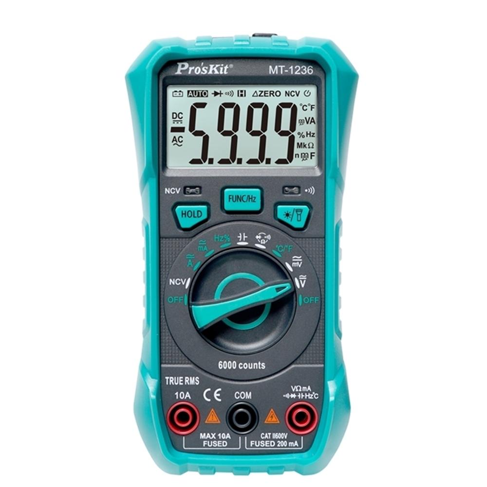 台灣Pro'skt寶工真有效值3 5/6數位電表MT-1236萬用電錶附探針(具線晶體測試,量測交流電壓電容電阻溫度)公司貨,享一年保固