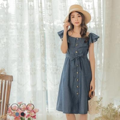 東京著衣-YOCO 出遊首選荷葉領附綁帶傘擺洋裝-S.M.L(共兩色)
