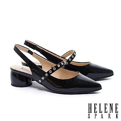 高跟鞋 HELENE SPARK 時尚白鑽繫帶牛軟漆皮尖頭高跟鞋-黑