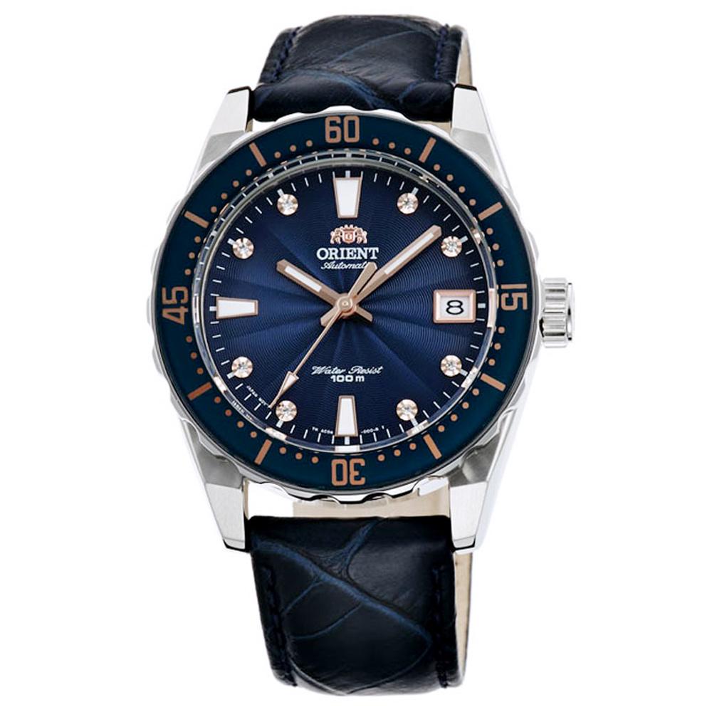 ORIENT 東方 晶鑽潛水真皮機械錶手錶 FAC0A004D-藍/39mm
