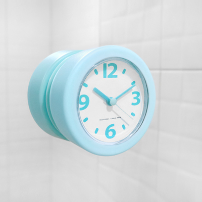 迷你輕巧廚房浴室吸盤防水防潮時鐘 - 淺藍色