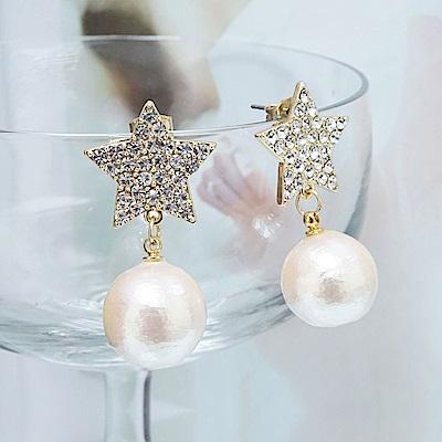 Prisme 美國時尚飾品 星星雪球 金色耳環