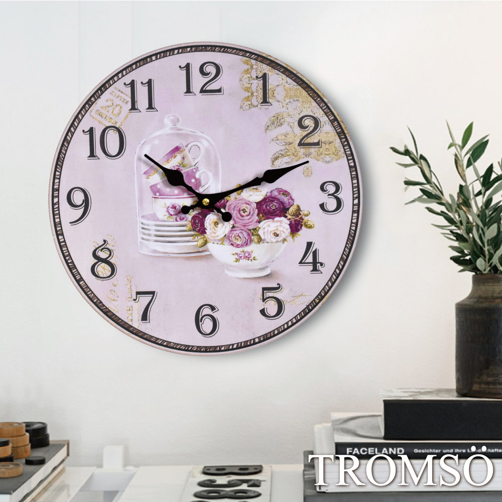 TROMSO無框畫時鐘-粉紅巴黎(圓形)