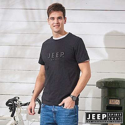 JEEP 極簡立體圖騰短袖TEE-黑色
