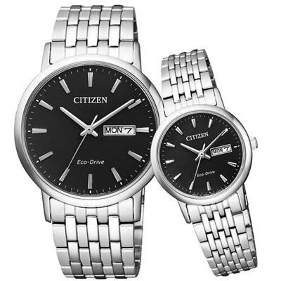 CITIZEN Eco-Drive 沉穩簡約星日期對錶-鋼帶黑面-37+27mm