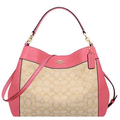 COACH 蜜桃粉色大C織紋斜背/側肩兩用包