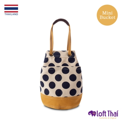 Loft THAI | 泰.兩用帆布水桶包(小) | Dot/mustard