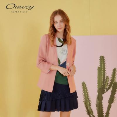 OUWEY歐薇 簡約百搭涼感西裝外套(綠/粉)