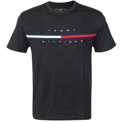 Tommy Hilfiger FLAG LOGO棉質短袖T恤  (黑色)