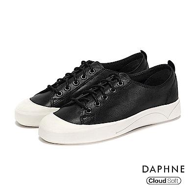 達芙妮DAPHNE 休閒鞋-牛皮綁帶刻紋厚底休閒鞋-黑