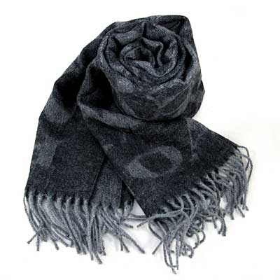 COACH 黑灰色雙面大C Logo羊毛混兔毛流蘇圍巾(195x50cm)