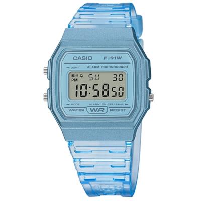 CASIO 卡西歐 方形造型 果凍漸層 電子液晶 手錶 半透明藍色 F-91WS-2 35mm