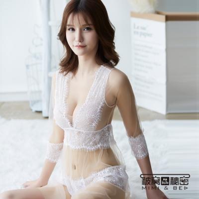 性感睡衣 繁花睫毛蕾絲高腰透紗睡裙。膚色 被窩的秘密