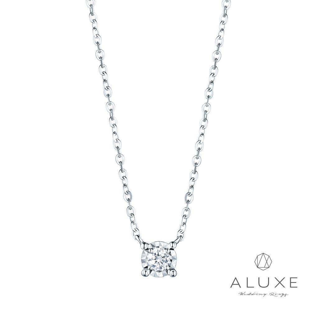 ALUXE亞立詩 18K金0.09克拉雙倍顯鑽鑽石項鍊